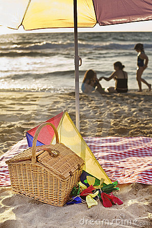 Comida campestre de la playa