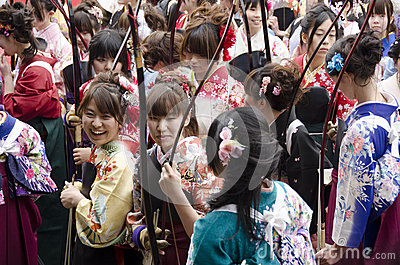 Coming of age day archery competition Editorial Stock Image