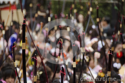 Coming of age day archery competition Editorial Stock Photo