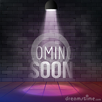 Free Coming Soon Message Illuminated With Light Spotlight Projector. Brick Wall And Stage Realistic Vector Stock Photography - 83042132
