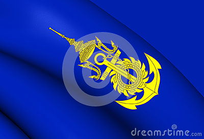Commander-in-Chief of Royal Thai Navy Flag Stock Photo