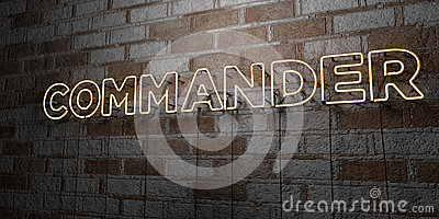 COMMANDER - Glowing Neon Sign on stonework wall - 3D rendered royalty free stock illustration Cartoon Illustration