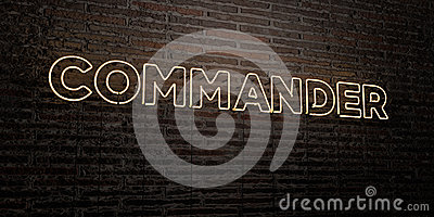 COMMANDER -Realistic Neon Sign on Brick Wall background - 3D rendered royalty free stock image Stock Photo