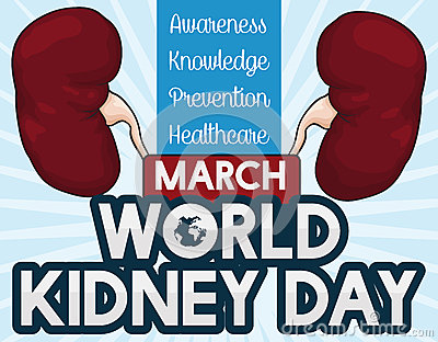 Commemorative Design for World Kidney Day Celebration, Vector Illustration Vector Illustration