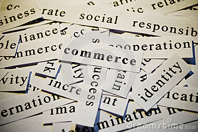 Commerce. Words related with business