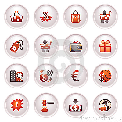 Commerce Icons. Black Red Series. Stock Photography - Image: 24848812