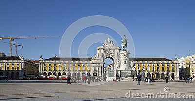 Commerce square in Lisbon, Portugal Editorial Image