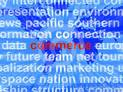 Commerce Word Showing The Business Of Buying