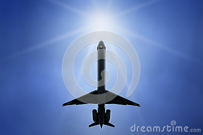 Commercial airplane flying