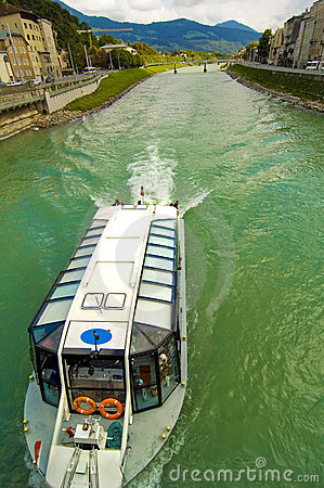 Commercial Boat On Salzach River