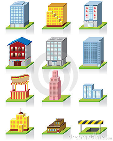 Commercial Building Icon -- 3D Illustration