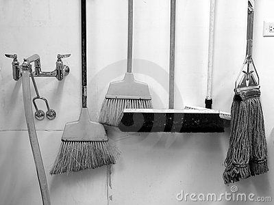Commercial cleaning: brooms and mop