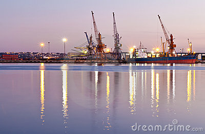 Commercial docks at sunset