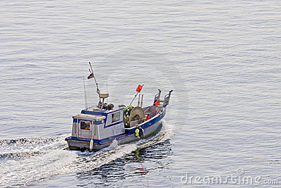 Commercial Fishing Boat with Nets