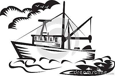 Commercial fishing boat ship sea woodcut