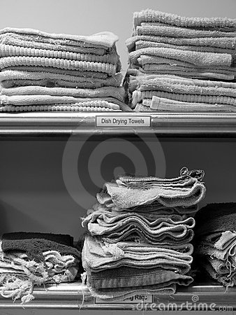 Commercial kitchen: dish drying towels