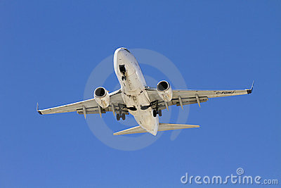 Commercial Passenger Jet Landing Editorial Photo