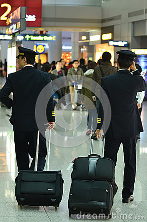 Commercial pilots in Airport Terminal Editorial Photography