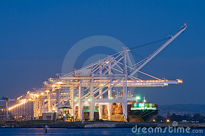 Commercial port at night