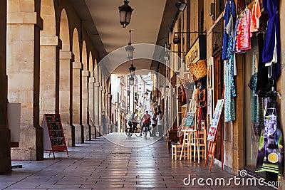 Commercial street in Logrono. La Rioja, Spain
