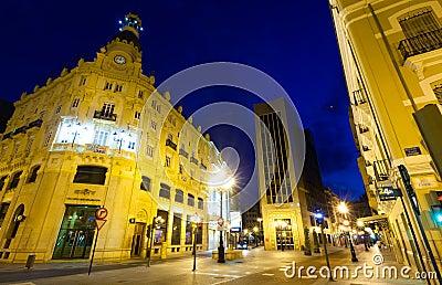 Commercial street in night. Castellon de la Plana
