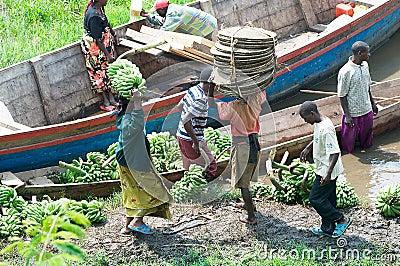 Commercial traffic along the lake Kivu Editorial Photo