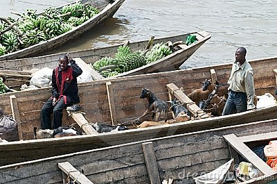 Commercial traffic along the lake Kivu Editorial Stock Photo