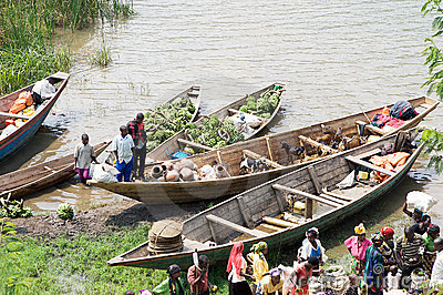 Commercial traffic along the lake Kivu Editorial Photo