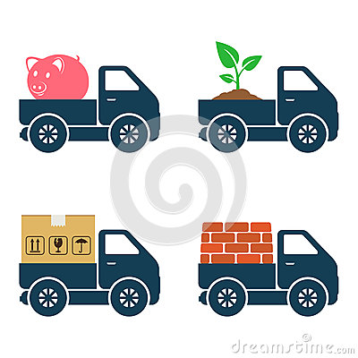 Commercial trucks icons. Delivery of various goods. Vector Illustration
