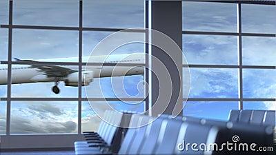 Commercieel vliegtuig die bij de internationale luchthaven van Richmond landen Het reizen naar conceptuele intro van Verenigde St stock videobeelden