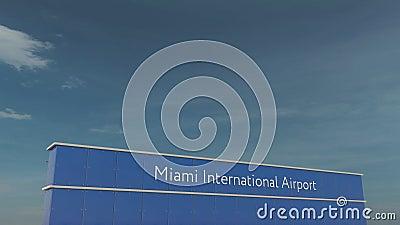 Commercieel vliegtuig die bij Internationale de Luchthaven 3D conceptuele 4K animatie van Miami landen stock footage