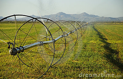 Commerical Farm Irrigation System On Wheels Stock Photos