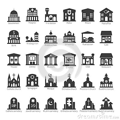 Free Common Buildings And Places Vector Icon Set Stock Photos - 44588423