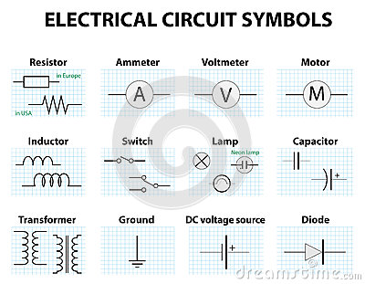mon Circuit Diagram Symbols Electronic Symbol Electric Symbol Element Set Pictogram Used To Represent Electrical Electronic on electronic schematics symbols circuits