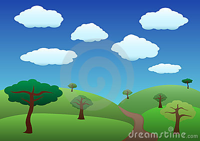 Common hills and trees landscape