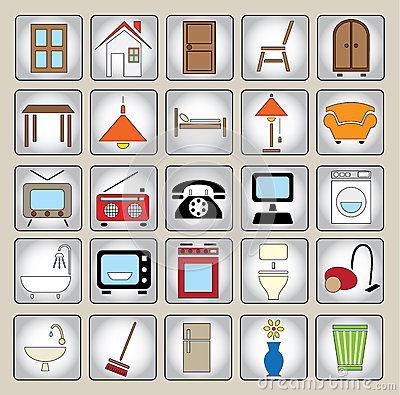 Common house appliances - color icon set