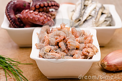 Common shrimps in a white bowl