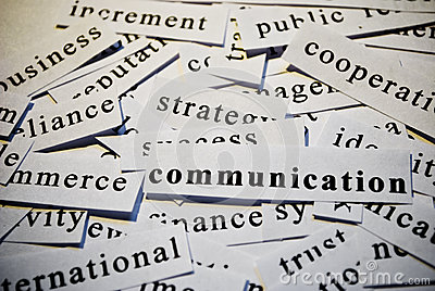 Communication. Concept of words related with busin