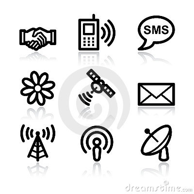 Communication black contour web icons V2