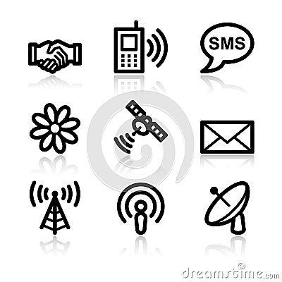 Communication black contour web icons V2