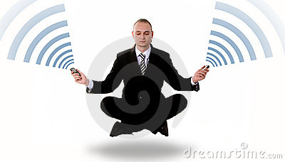 Communication concept: levitating business yoga