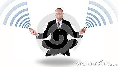 Communication concept: levitating business yoga