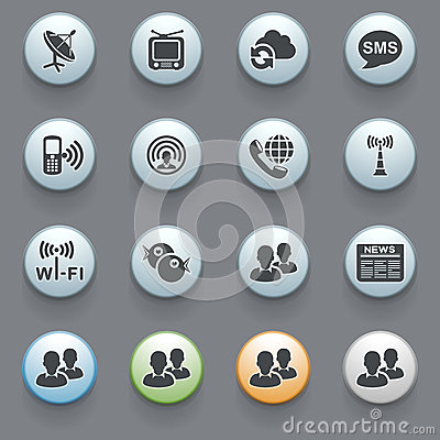 Communication icons on gray background. Set 1
