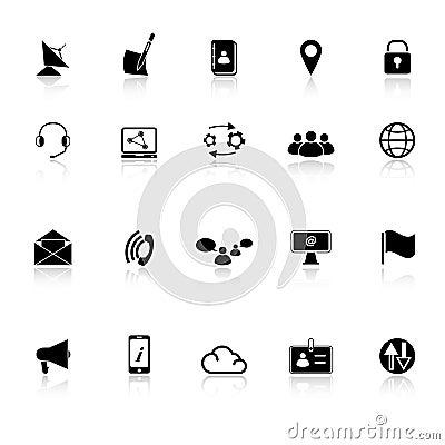 Communication icons with reflect on white backgrou