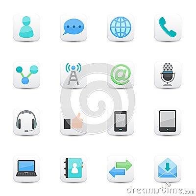 Communication Icons set white