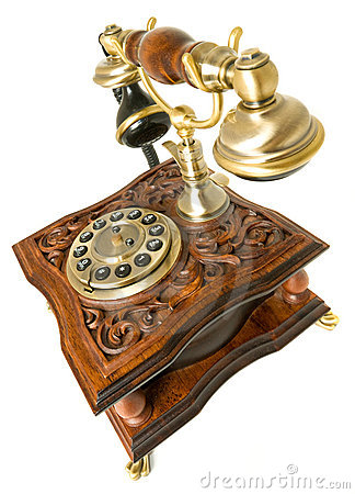 Communication Old-fashioned telephone isolated
