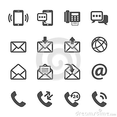 Communication of phone and email icon set, vector eps10 Vector Illustration