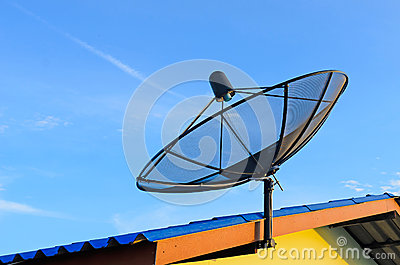 Communication satellite dish on roof