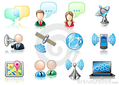 Communication theme icon set
