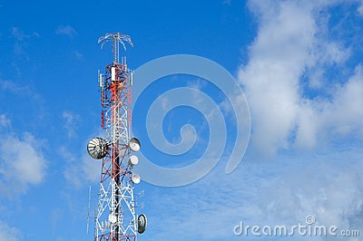 Communication tower over a sky